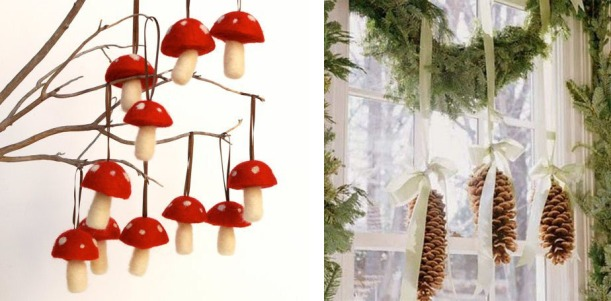 Mushroom Christmas Decorations and Evergreen Garland with Pine Cones