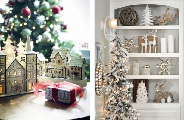 Lazer Cut Christmas Houses and White Shelves with White, Silver and Gold Christmas Decorations