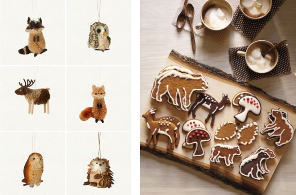 Woodland Creature Bottle Brush Christmas Decorations and Woodland Animals Biscuits.