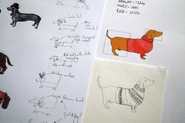 Research and original sketches for dachshund motif - Kate Sproston Design